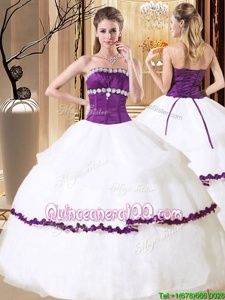 42a5a627b8 Beauteous Ruffled Ball Gowns Quinceanera Dress White And Purple Strapless  Organza Sleeveless Floor Length Lace Up
