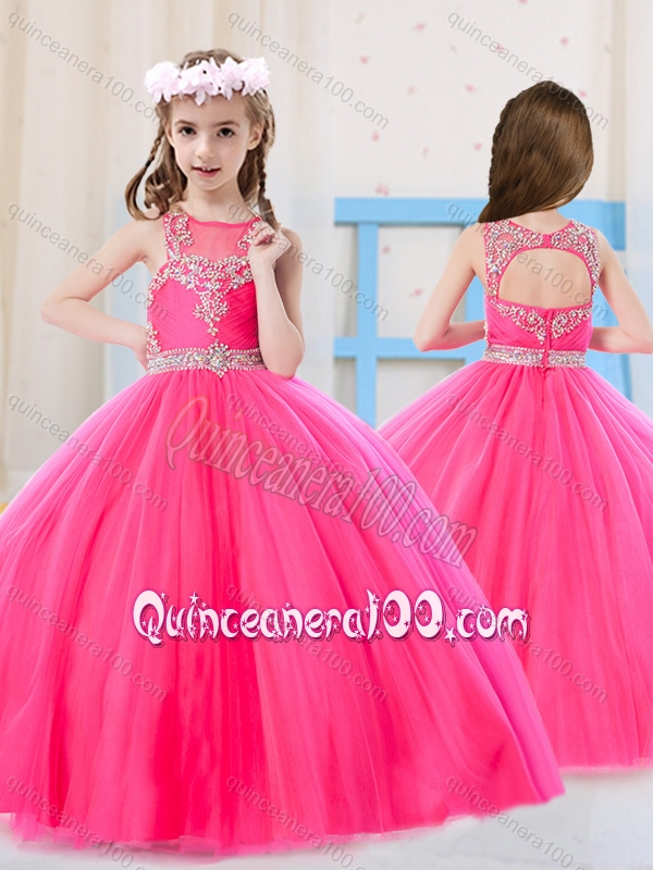 Hot girls in quiceneiera Beautiful Princess Pierced Hot Pink Little Girl Pageant Dress With Scoop Quinceanera 100