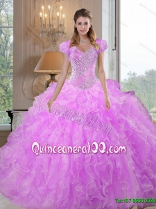 Luxurious Sweetheart Beading and Ruffles Lilac Sweet 16 Dresses for 2015