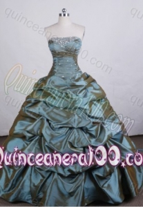 Affordable Ball Gown Strapless Olive Green Beading And Pick-ups Quinceanera Dresses