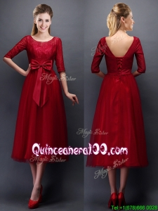 Gorgeous Scoop Half Sleeves Bowknot Gorgeous Scoop Half Sleeves Bowknot Bridesmaid Dress in Wine RedDress in Wine Red