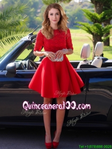 Exquisite Laced Scoop Half Sleeves Dama Dress in Red