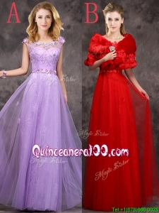 Discount Beaded and Applique Cap Sleeves Long Dama Dress in Tulle