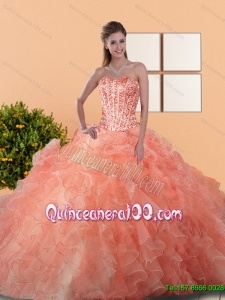 2015 Plus Size Quinceanera Gowns with Beading and Ruffles