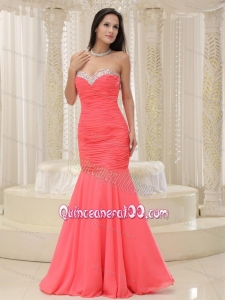Mermaid Ruching Sweetheart Beaded Coral Red 16 Birthday Party Dress