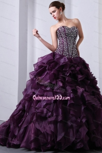 Purple Sweetheart Organza Beading and Ruffles 16 Birthday Party Dress