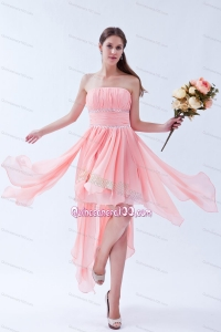 High-low Strapless Beading Chiffon Dama Dress for Quinceanera Party