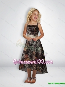 Elegant A Line Straps Tea Length Camo Flower Girl Dresses with Beading