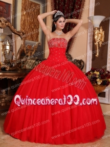Red Ball Gown Strapless Floor-length Tulle Beading Quinceanera Dress
