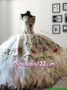 Custom Made White Big Puffy Quinceanera Dress with Embroidery and Ruffles