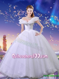 Summer Elegant Ball Gown Tulle Cinderella Quinceanera Dresses in White for 2015