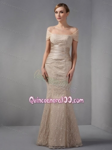 2014 Unique Off The Shoulder Champagne Mother of the Dress with Beading and Lace