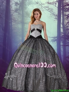 Elegant 2016 Black Ball Gown Floor Length Sequined and Tulle Quinceanera Dresses with Appliques