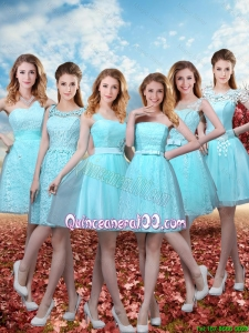 2016 Beautiful A Line Dama Dresses with Belt in Aqua Blue