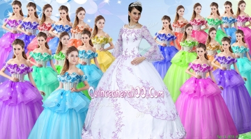 Best Selling Really Puffy Applique Quinceanera Dress with Long Sleeves