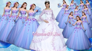 Elegant Applique Off the Shoulder Quinceanera Gown with Long Sleevels
