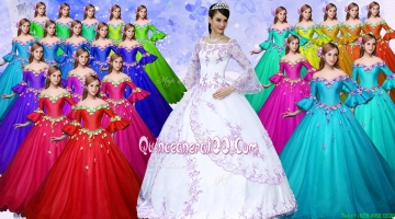Hot Sale Big Puffy Long Sleeves Off the Shoulder Quinceanera Dress