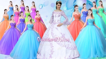 New Style Taffeta Applique Quinceanera Dress with Long Sleeves