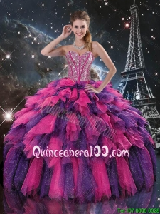 Luxurious 2016 Spring Beaded and Sweetheart Quinceanera Dresses in Multi Color