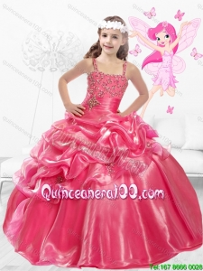 Discount Straps Beaded Little Girl Pageant Dresses with Side Zipper