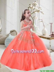 Elegant Orange Red Scoop Little Girl Pageant Dresses with Appliques
