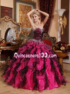 Elegant Black and Red Sweetheart Ruffled Beading Quinceanera Dresses