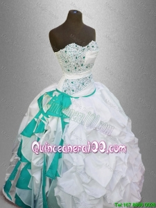 Elegant Sweetheart Quinceanera Gowns with Beading and Pick Ups for 2016