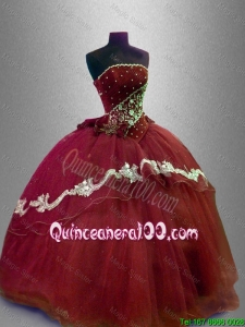Hot Sale Appliques Strapless Quinceanera Gowns with Beading for 2016