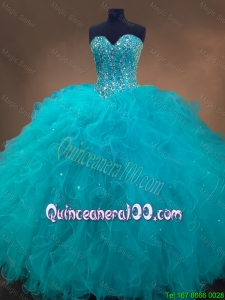 Elegant Beaded and Ruffles Quinceanera Gowns in Aqua Blue