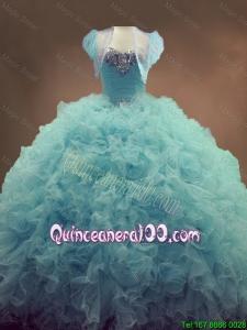 Elegant Discount Beaded and Ruffles Quinceanera Gowns in Light Blue