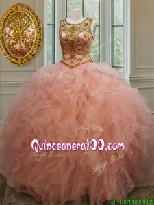 2017 Exquisite See Through Scoop Beaded and Ruffled Quinceanera Dress in Peach