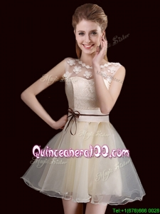 Classical See Through Laced and Belted Organza Champagne Dama Dress