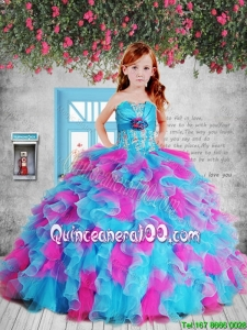 Popular Pink and Blue Mini Quinceanera Dresses with Hand Made Flower and Ruffles