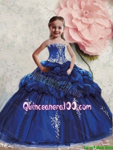 New Arrival Royal Blue Mini Quinceanera Dresses with Appliques and Pick Ups