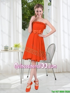 Pretty Summer A Line Strapless Bowknot Dama Dress in Rust Red