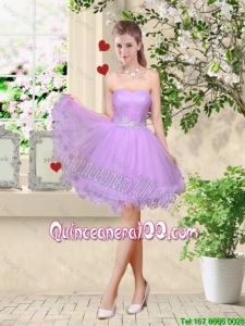 Cheap Simple A Line Strapless Lavender Dama Dresses with Belt