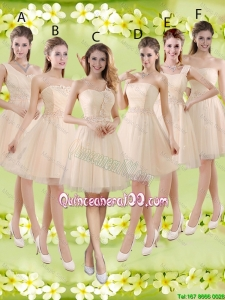 Pretty Sturning Knee Length Champagne Dama Dresses with Appliques and Belt