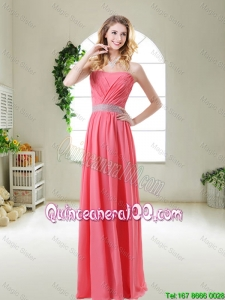Perfect Elegant Strapless Dama Dresses in Watermelon Red