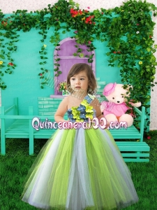 Sweet Ball Gown One Shoulder Floor-length Little Girl Dress with Hand Made Flower