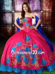Unique Big Puffy Embroideried Strapless Blue and Red Quinceanera Dress in Taffeta