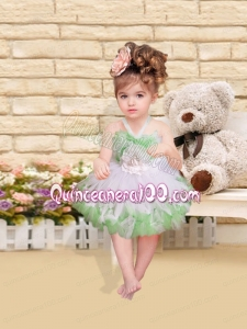 Fashionable Hand Made Flowers and Ruffles Tulle Little Girl Dress with Halter