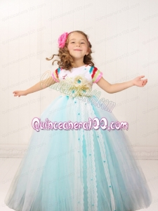 Multi-color A-Line Tulle One Shoulder Appliques and Hand Made Flowers Little Girl Dress for 2014
