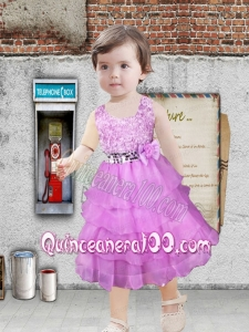 Morden A-Line Lilac Ruffled Layers Flower Girl Dress with Scoop