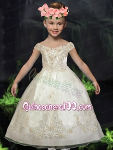 Ball Gown Off the Shoulder White Ball Gown Appliques Flower Girl Dresses