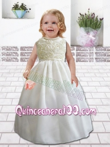 Pretty Ball Gown Floor-length Flower Girl Dress with Rolling Flowers