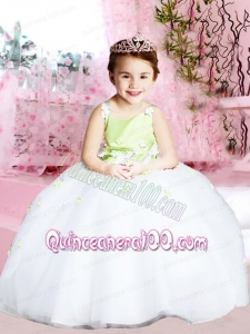 Elegant Ball Gown Straps Green and White Flower Girl Dress with Hand Made Flower