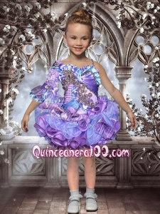2014 Lovely Multi-color Mini-length Half Sleeve Little Girl Dress with Beading