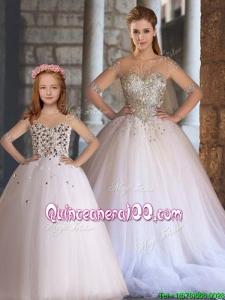 Fashionable Ball White Princesita Quinceanera Dresses with Beading