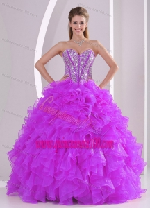 2013 Winter Sweetheart Ruffles and Beading Long Quinceanera Gowns in Fuchsia