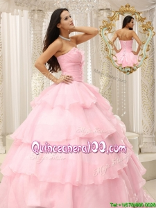Popular Beading and Ruffles Baby Pink Quinceanera Dresses